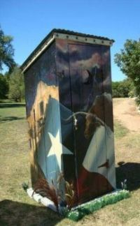 THEME:  Outhouses, painted outhouse contest winner