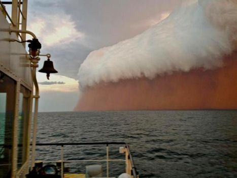 Dust storm at sea