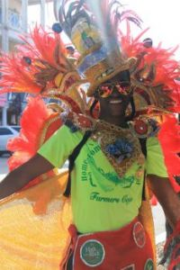 Bahamian guy getting ready for a parade in Nassau