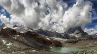 Lake Bachalpsee near Grindelwald in the Bernese Oberland, Switzerland