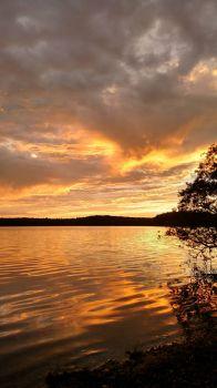 Fall sunset over Mashpee-Wakeby Pond