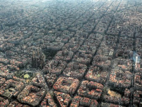 Aerial of Barcelona , Spain.