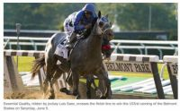 Essential Quality Winning the Belmont Stakes