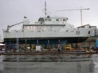 Orca Class patrol vessel HMCS Wolf on the hard