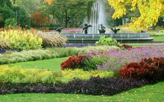Flower Beds and Fountain