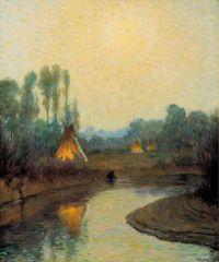 Early Moonlight, Crow Reservation, Joseph Henry Sharp, Circa 1920