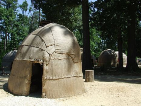 Reconstructed Recreation of Native American shelters as seen by Jamestown Va. Settlers