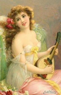 Girl with Mandolin - Emile Vernon