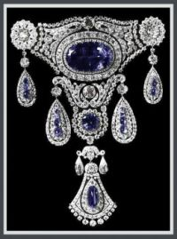 sapphire Agraffe stomacher which belonged to the Grand Duchess Marie Pavlovna by Cartier, circa 1910.