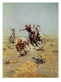 """Cowboy Roping a Steer"" by Charles Marion Russell"