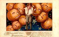 Halloween Pumpkins, 1913, by artist Samuel L Schmucker