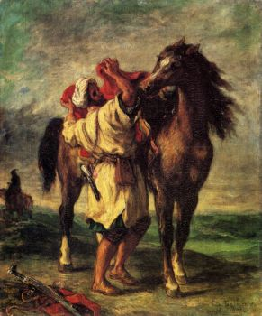 Arab Sadling His Horse by Eugene Delacroix