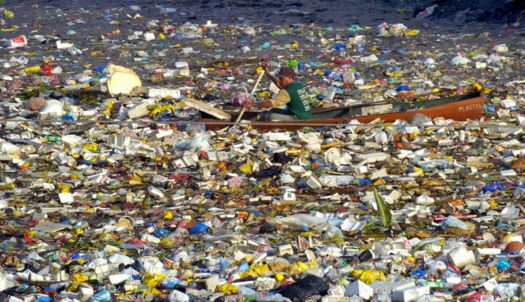 Theme: Green Living - Pacific Ocean Floating Plastic Trash North of Hawaii that is the Size of Texas