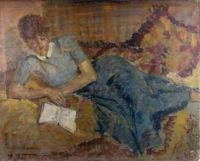Frans Smeers (1873-1960) Reading woman.