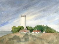 Watercolor of Piedras Blancas Light Station