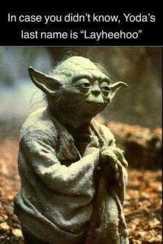 And I thought it was Yoda Jones...