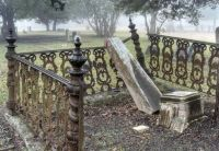 THEME ~ Fences  ~~  Cast Iron Fence of a Tomb in Odd Fellow Cemetery. Anderson, Texas