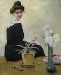 "Paul Gustav Fischer, ""Woman arranging Flowers"""