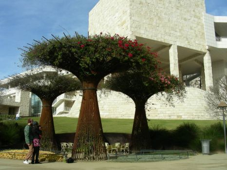 "Iron ""trees"" on the grounds of the Getty Museum"