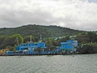 blue buildings on shore, 2015 trip