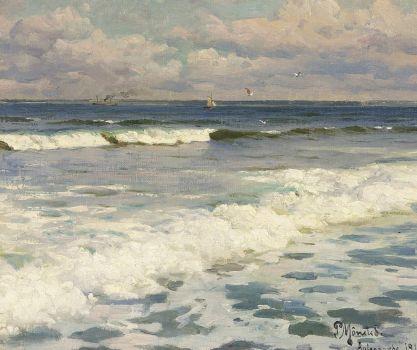 "Peder Mørk Mønsted,  ""A view of Aalsgaarde, heading to the Swedish coastline"""
