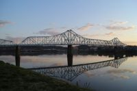 old Ironton-Russell bridge as viewed from the KY side of the Ohio River