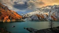 Amir Kabir dam on the Karaj River in the Varian Gorge, Central Alborz mountain range, Iran