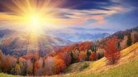 Autumn sunset mountain landscape