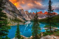 View of Moraine Lake in Valley of the Ten Peaks, Banff National Park, Alberta, Canada