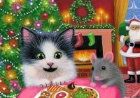 Kitten, mouse and cookies for Santa