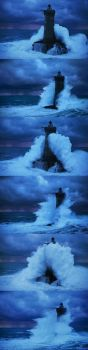 A BIG WAVE AND A LIGHTHOUSE.......... A BOOKMARK PUZZLE
