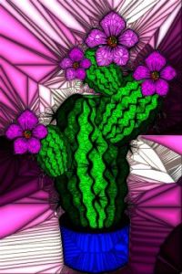 STAINED GLASS FLOWER B11