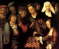GAME OF CHESS 1508 EUROPEAN PAINTING BY LUCAS VAN LEYDEN LARGE REPRO ON CANVAS