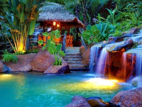 Tropical Blue Waterfalls