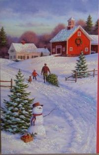 A winter scene card from a Christmas gone by