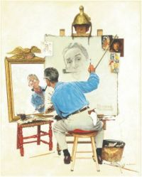 Triple Self Portrait  Norman Rockwell  1960