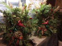 "2 Christmas Cardinals Planter ""Spray"" Arrangements"
