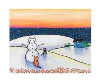 White Snowman, Black Cat and Orange Tabby