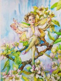 Apple blossom watercolor fairy