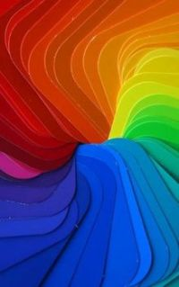 A very bright and colourful rainbow image