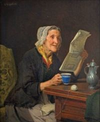 Old woman with newspaper and coffee cup