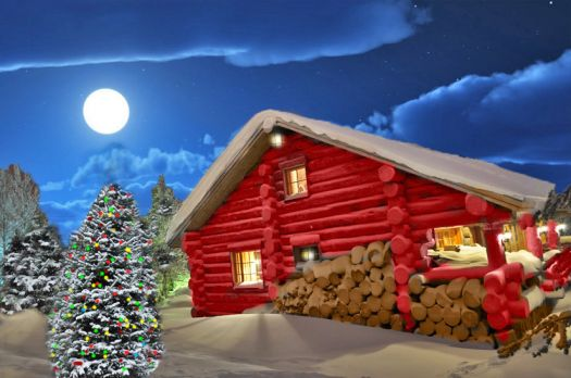 Christmas Moon Log Cabin