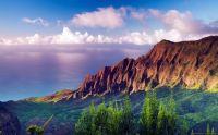 Coucher de soleil sur le parc Nā Pali Coast, Kauai (Hawaï, États-Unis)