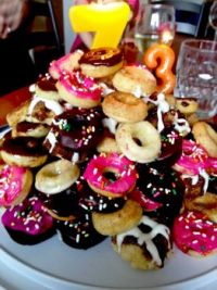 Birthday mini-donut cake