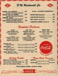 Old Woolworth menu