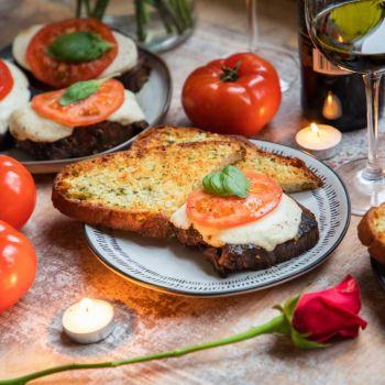 Caprese Steak with Garlic Toast, Tomatoes, and  Wine