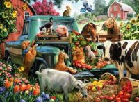 Is the farmer, happy that the animals are eating!
