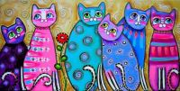 colorful-cats-with-flower