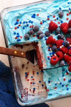 Red white and blue icecream cake