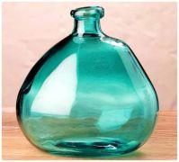 Blown Glass Balloon Style Vase in Teal Blue